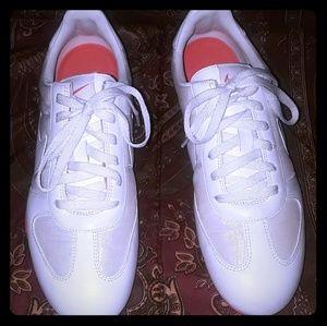 NIKE White & Off White Nylon & Fabric Sneakers